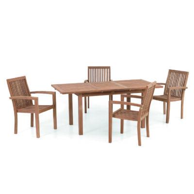 Záhradný set Denpasar je zložený z rozkladacieho stola a štyroch drevených stoličiek, zasúvateľných pod stôl