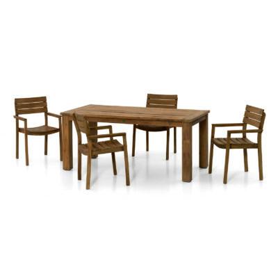 Záhradný nábytok Toronto slúži ako veľmi pohodlná a kompaktná jedálenská súprava so stolom a štyrmi, na seba stohovateľnými stoličkami.